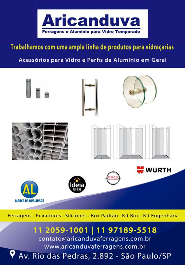 Aricanduva Ferragens - Acessórios para Vidro e Perfis de Alumínio