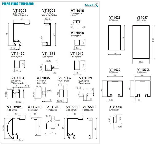 Alumifix componentes para esquadrias e perfis de alum nio for Perfiles de aluminio catalogo